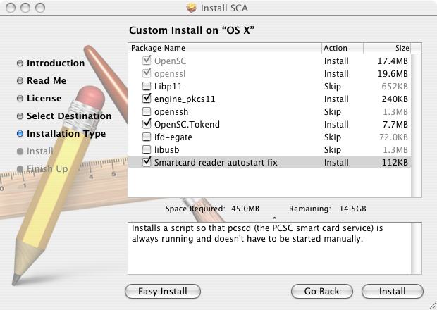 Install MacOSX OpenSC Customize.png